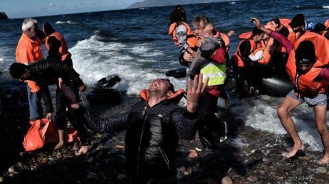 Refugiados en las islas griegas. Foto AFP