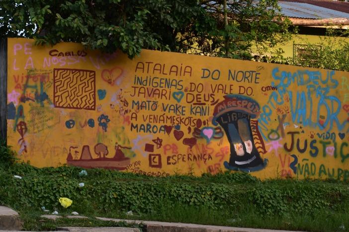 Graffiti en Atalaia do Norte (Brasil) contra la violencia. Foto Marta Isabel González/CIDSE y REPAM