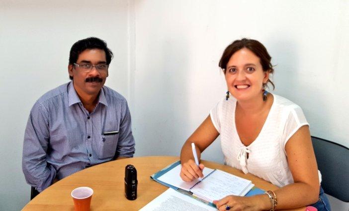 Johny Joseph y Marta Isabel González en el momento de realizarse la entrevista