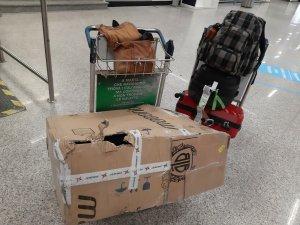 Gracias a Dios en el aeropuerto de Fiumicino si había carros para recuperar mi equipaje al llegar. Foto @migasocial